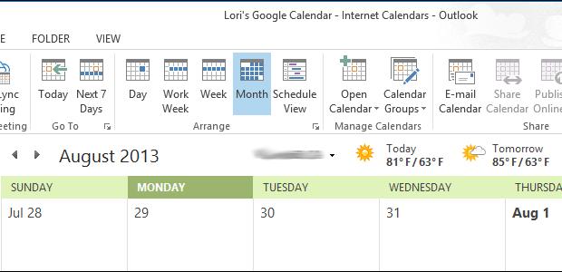 مشاهده تقویم گوگل در Outlook 2013