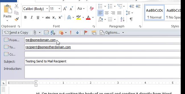 ارسال یک سند Word از یک پیام ایمیل