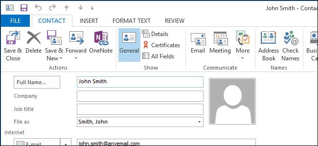 باز کردن پنجره ویرایش تماس در Outlook 2013