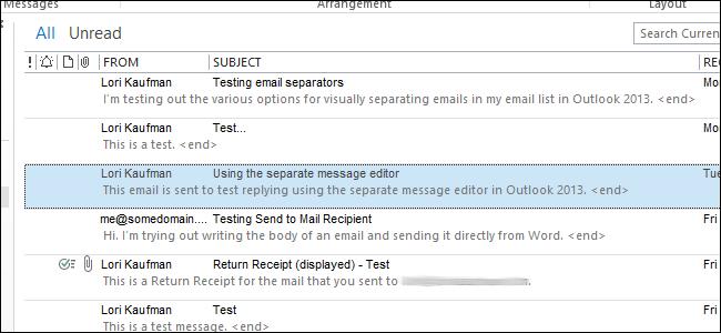 ایجاد یک جداسازی واضح هر یک از ایمیل در لیست پیام در Outlook 2013