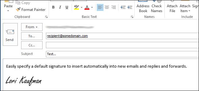 اختصاص یک امضاء پیش فرض در Outlook 2013