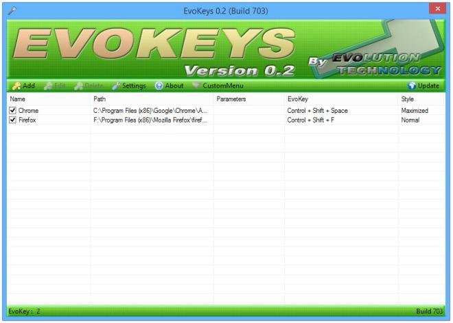 EvoKeys : نرم افزاری برای تعریف کردن کلید میانبر برنامه ها و پوشه ها